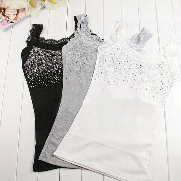ファッションレディースラインストーンノースリーブレーストップファッションベストタンクトップTシャツブラウスヨガブラックグレー