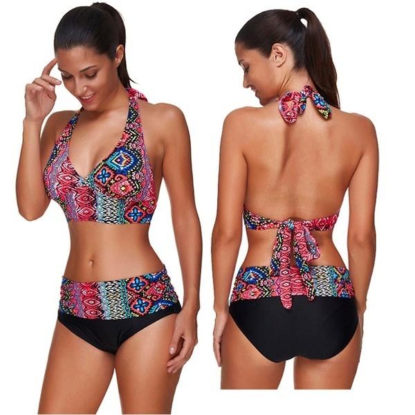 恋人 - 美人豪華な2つのピースプラス入浴服種族のパターンセクシーな女性Beachwearプッシュアップブラジャー