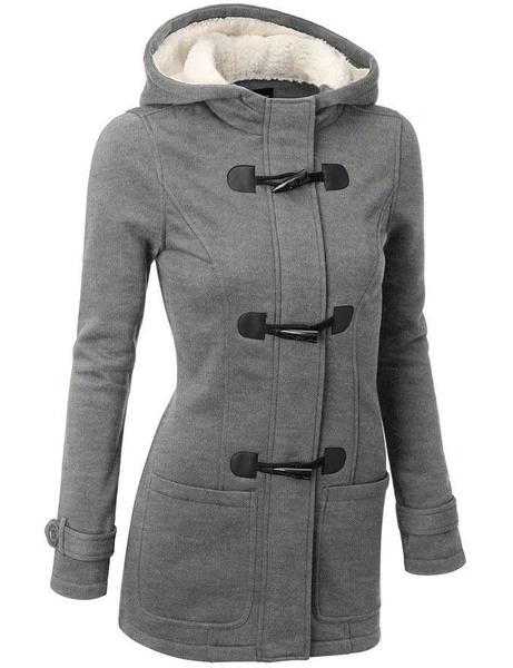 ウィンタージャケット女性フード付きウィンターコートファッション秋女性パーカーホーンボタンコートAbrigos Y Chaque