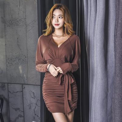 秋冬 レディーズ女性 新品 韓国風 ファッション Vネック スレンダーライン ひだ 長袖 リボン付き ワンピース セクシー