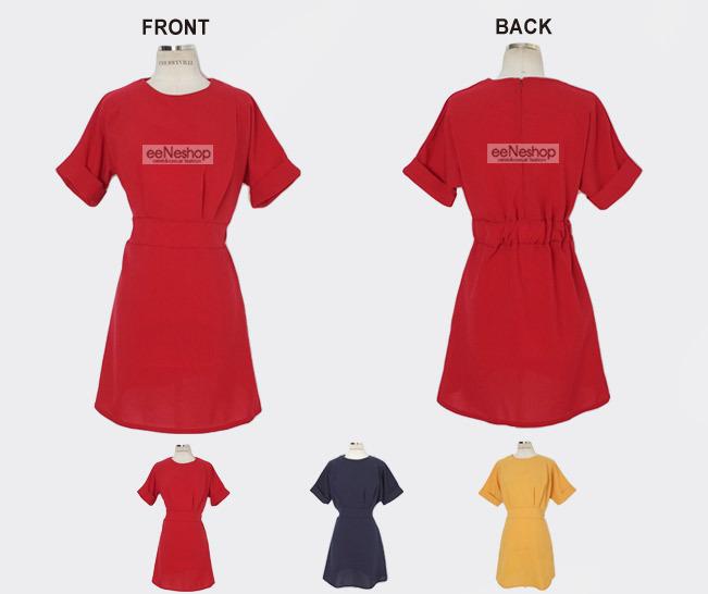 ★送料無料★ターンナップ カフス ウェストバックゴム ショートワンピース[レディース] 韓国ファッション ワンピース バッグ リュック パーカー Tシャツ