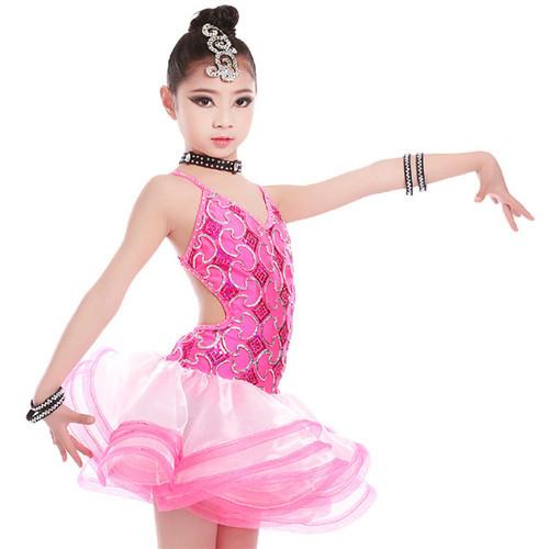 ラテン ダンス 子供用 ラテンワンピース キラキラ ダンス衣装 子ども用 女の子 フリンジチュチュ キッズ/子供/こども/女の子 社交ダンスピンク ブルー 2色展開 120cm-170cm