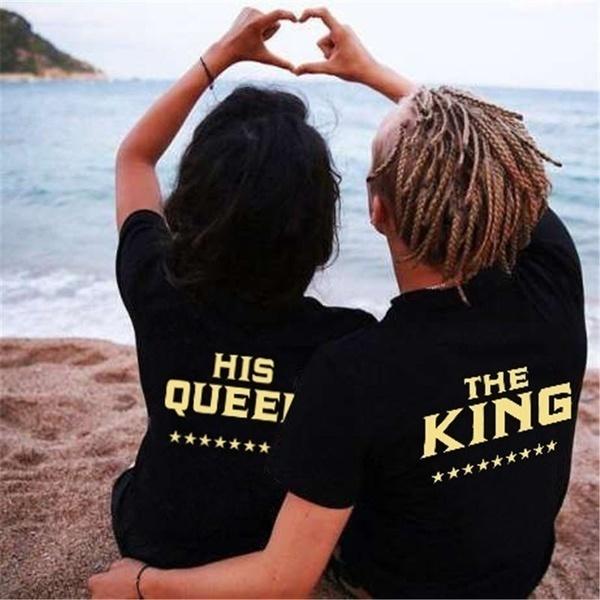 キング&クイーンカップルのシャツとスリーブプリントカジュアルなトップTシャツ