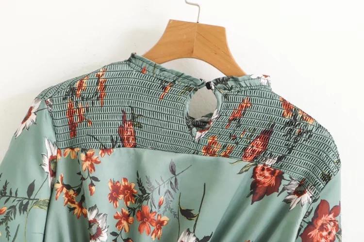 欧米風  7分袖 花柄ワンピース 女性らしい エレガント ロングワンピース 着やせ 大人上品 ゆったり