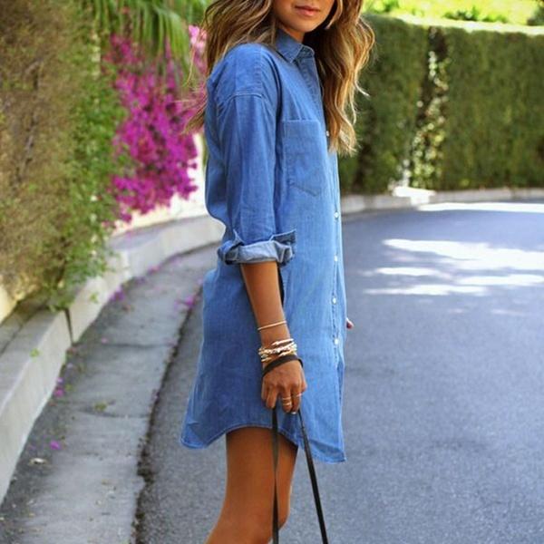 レディースカジュアルロングスリーブデニムシャツドレス不規則な裾ロングトップシャツ