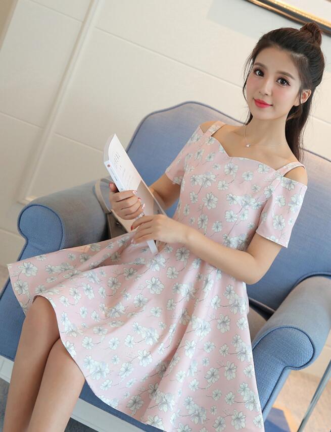 [55555SHOP]韓国風 フリル 肩なし フローラル スリング シフォン ワンピース  女 ル