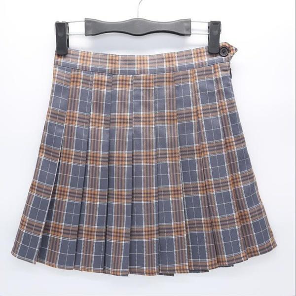 ガールズカレッジスタイルレトロハイウエストショートスカートチェック柄テニススカートXS  -  XXL