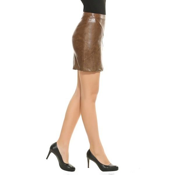 セクシーな女性フェイクレザーハイウエストソリッドスリムミニペンシルスカート -  NC