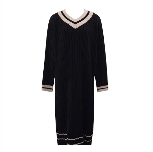 新品送料無料 韓国ファッション 超人気/ニットのワンピース ざっくり編みVネックローゲージニット   ゆったり着れるニット レディース
