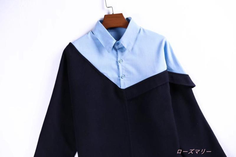 【ローズマリー】欧米風のシャツ切り替えラシャ長袖ワンピース秋新品女装ゆったり着やせPOLO領短いスカート 切り替え  ベーシック 大人気-QQ2504