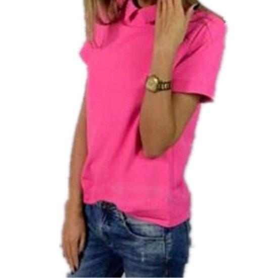 韓国の女性ホットシフォン半袖トップ新しいピュアカラーブラウススリムシャツドールカラー