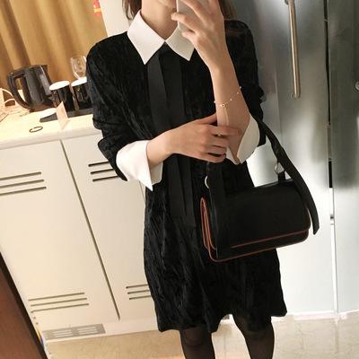 ベロア素材 2枚重ね 長袖ワンピース リボンストラップ結び レディース  ゆったり 女性  韓國ファッション