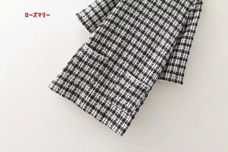 【ローズマリー】欧米2018早春ファッション新型百搭中に袖白黒のチェックソフトなワンピース チェック柄 ィンテージ調  ベーシック 大人気-QQ5299