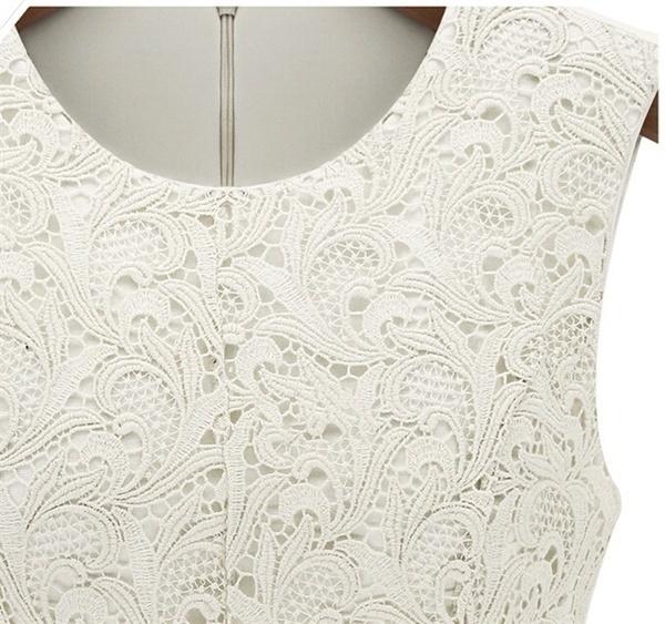 女性ファッションノースリーブレース夏のトップスTシャツ刺繍カジュアルブラウス