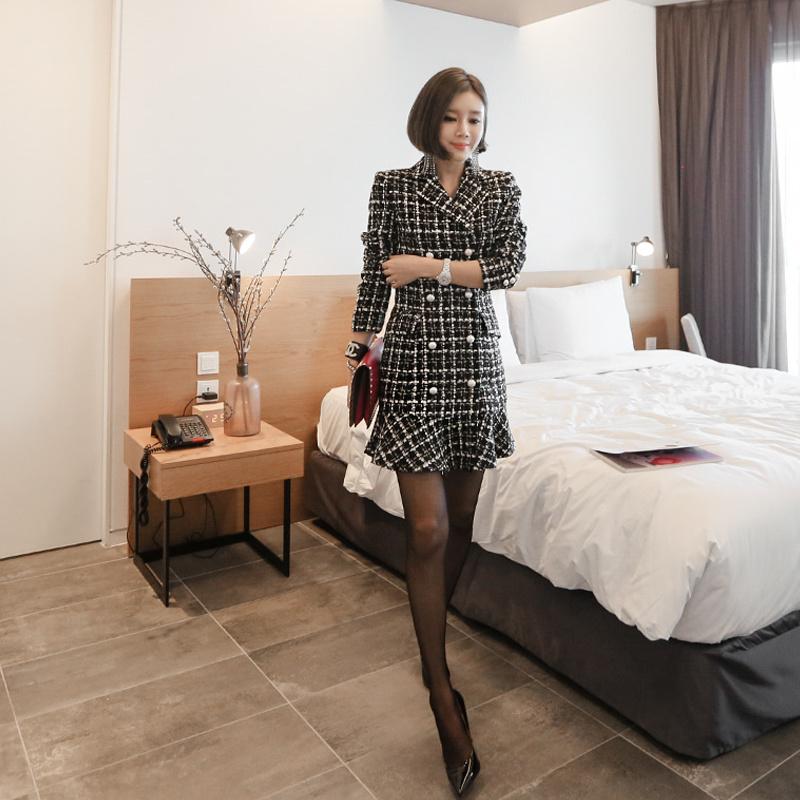 ♥大ヒット商品超特価♥韓国ファッション女性服1位『VIVARUBY』♡チェック晋州ワンピースジャケット♡最高級品質! 送料無料 P0000SZJ