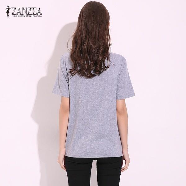 ZANZEA 3色ファッション2017夏の女性セクシーなヴィンテージ刺繍ティートップ半袖Tシャツ