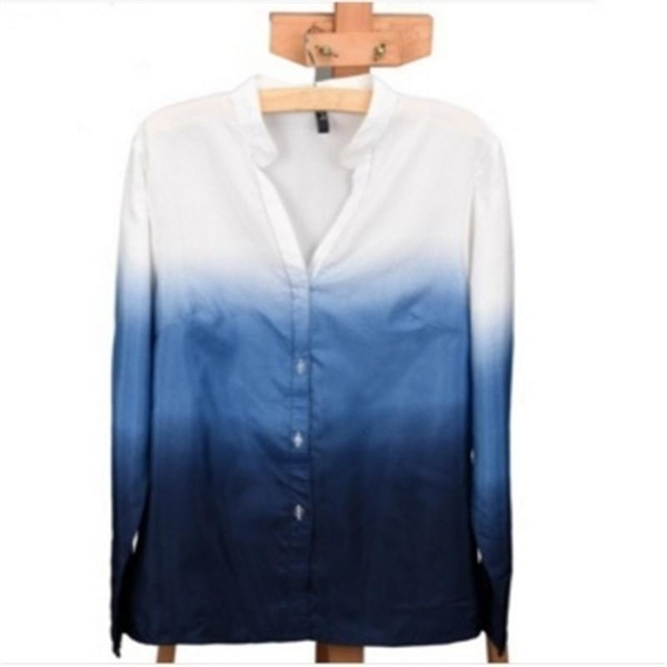 ファッションレディースシャツロングスリーブVネックグラデーションカジュアルB