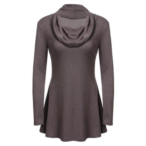女性のファッションカウルネックロングスリーブソリッドドレープヒップチュニックトップ#TAのライン