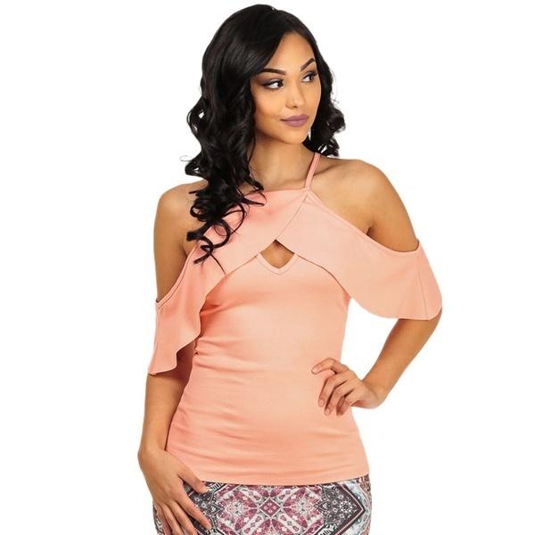 女性ファッションセクシーなスリムキーホールソリッドカラーコールドショルダーホルタートップ