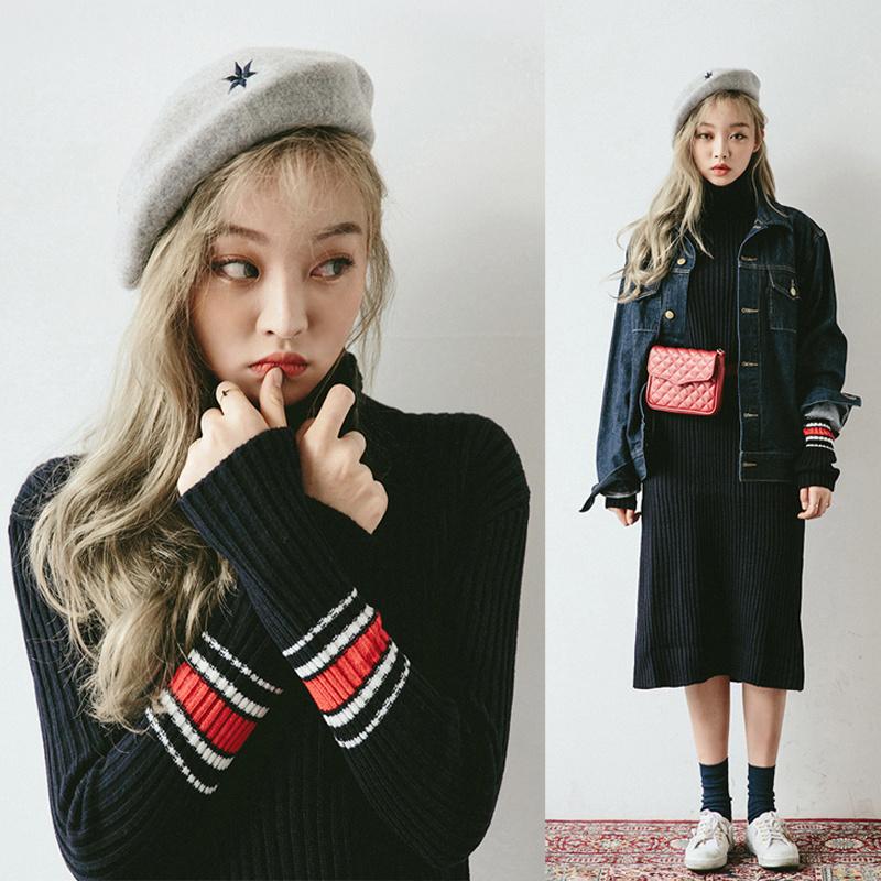 【BB394】韓国ファッション 冬シーズン /ワンピース//ニットセーター/Vネック/着痩せ/弾力性/リブスリット