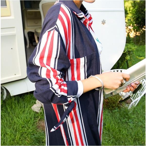 ワンピース ロング 長袖 シャツ ユニオンジャック 可愛い 襟付き ネイビー シャツワンピース カーディガン 前開き 清楚 ガーリー 着回し 2017