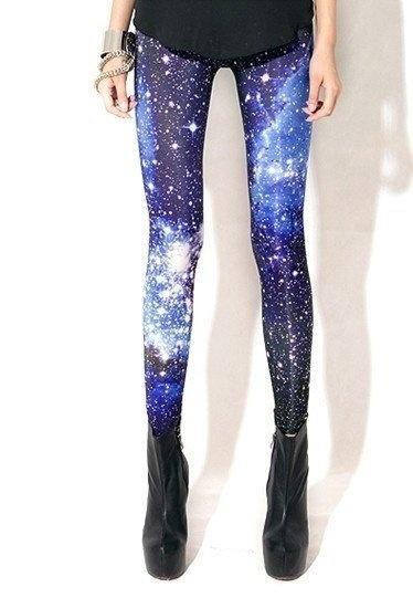 2016新しい女性セクシーな宇宙ギャラクシーブループリントレギンスパンツ弾性ファッションスペースタイ染料SX