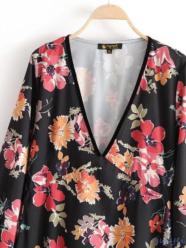 欧米風 Vintage花柄 Vネック 長袖 ワンピース レディース ロングワンピース  パフスリーブ レトロ おとな  着回し 体型カバー