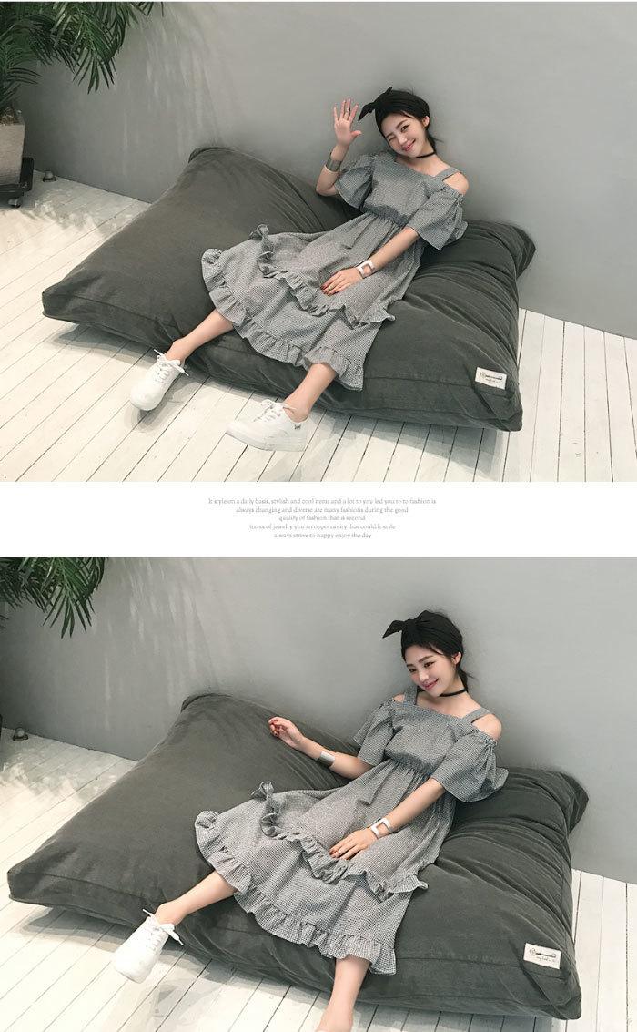 SUMGIRL(サムガール)ギンガムチェックフレアワンピース【7/25up_wo】韓国 韓国ファッション ワンピース フレア ロングワンピース