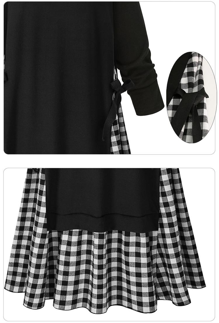 ワンピース チェック柄 リボン レディース フレア裾 切替 長袖 ロング ミモレ マキシ 大きいサイズ Uネック シンプル 無地 オシャレ 可愛い 韓国ファッション