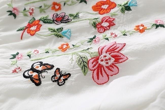 ワンピース レディース 半袖 ミニ ショート丈 チャイナ 風 フレア 白 ホワイト ワンピ 夏 刺繍 花柄