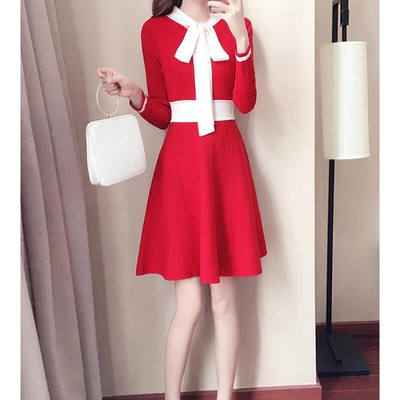 ニットワンピース ワンピースレディース 長袖 韓国ファッション レディース服 セーラー風 全3色