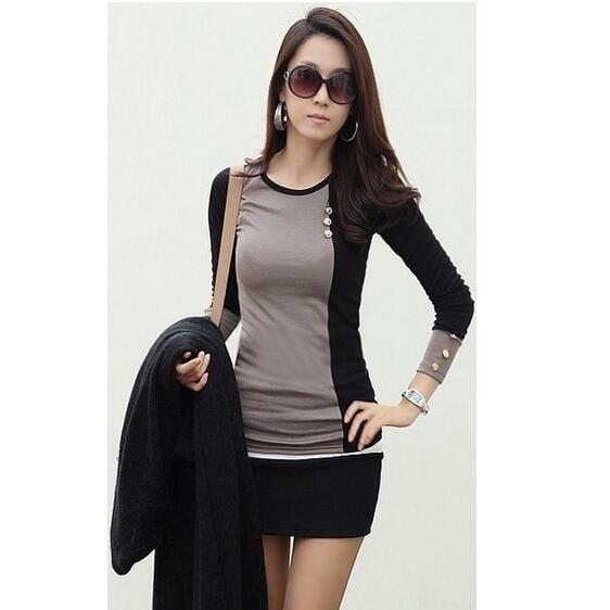新しいファッション女性の服のtシャツ韓国のスタイルのパンクセクシーなトップスのティー服ロングスリーブのTシャツスリム