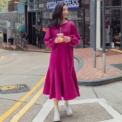 2018春 韓國ファッション Aライン ゆったり ラウンドネック パフスリーブ パーカーチュニックワンピース ロング丈 フレア レディース