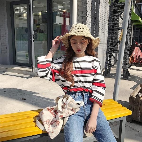 ウルザンBfスタイル原宿女子ルーズストライプ半袖Tシャツ