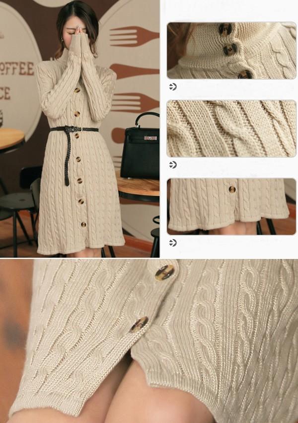 ニットワンピース ニットセーター ケーブル編み タートル襟 ベルト付き ロング丈ニット