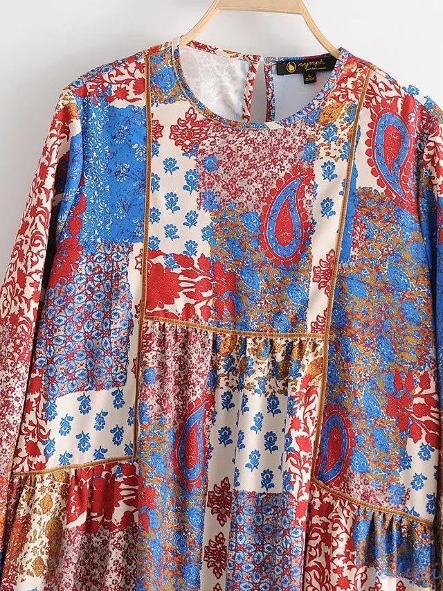 欧米風Vintage花柄  ベルベット 切り替え 長袖ワンピース ロング丈 レディース おとな  可愛い  体型カバー