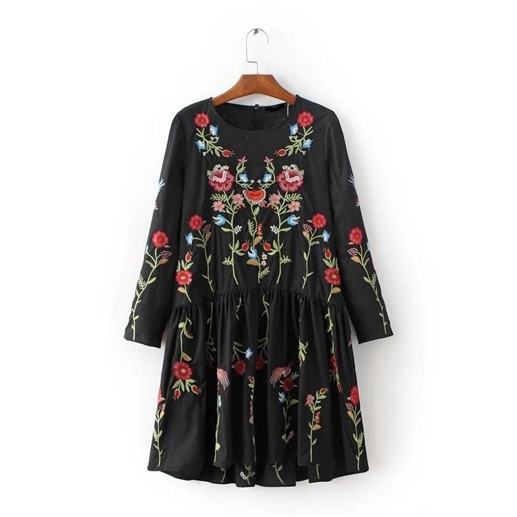 刺繍ワンピース   欧米風  ワンピース  スイート  花柄-QQ023
