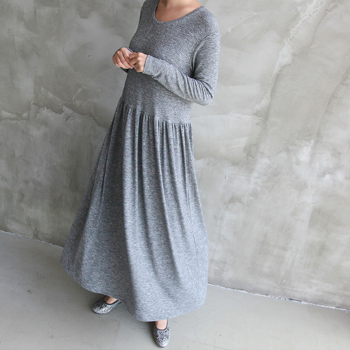 [zoozoom] Daily wrinkle long dress 3color / 24729