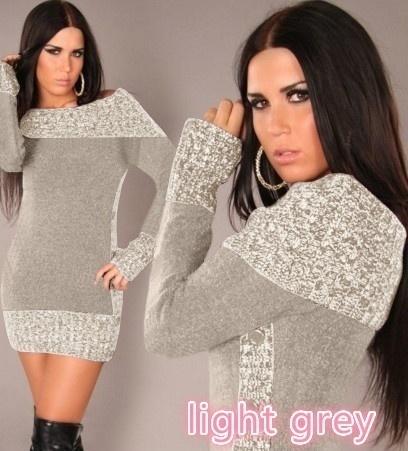 秋の女性のファッションロングスリーブ混合色ロングセーターミニドレスニットウェア