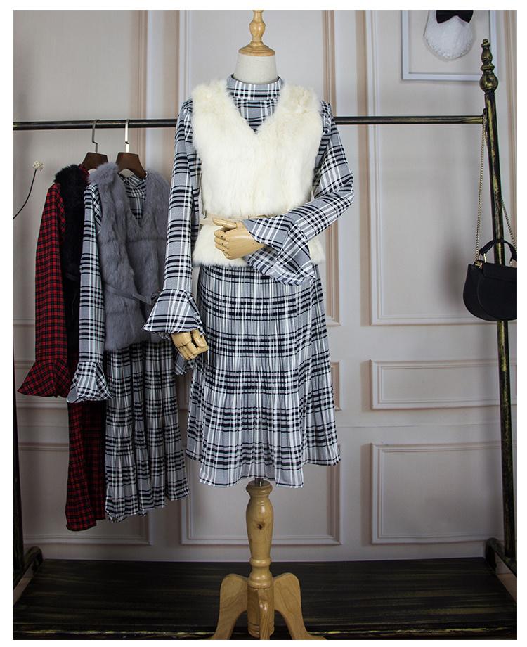 2017送料無料韓国ファッション 2点セットファーベスト+レディースワンピース