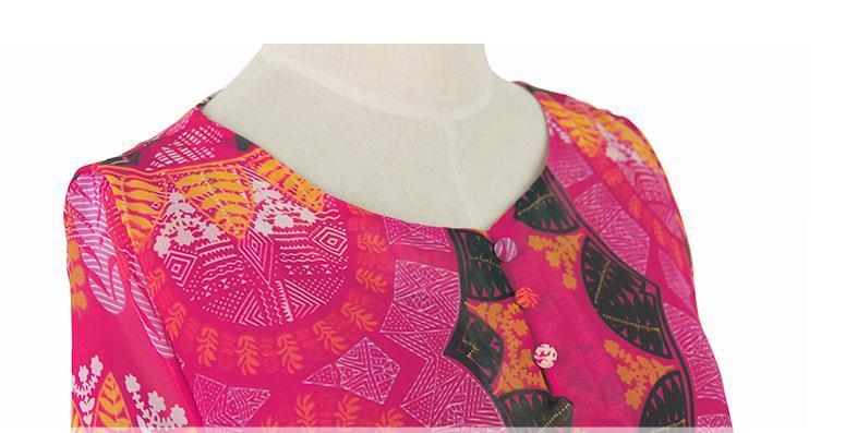 レディース 透け感 7分袖 フレア ワンピース ミニ エスニック きれい色