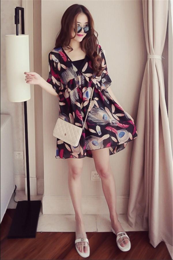 レディースワンピース 韓国無地 スリム 韓国のファッション 上品  学院?  Vネックシフォンワンピース プリントワンピース   ハイセンス 着心地いい おしゃれ 夏 スリム セール★ レディースワン
