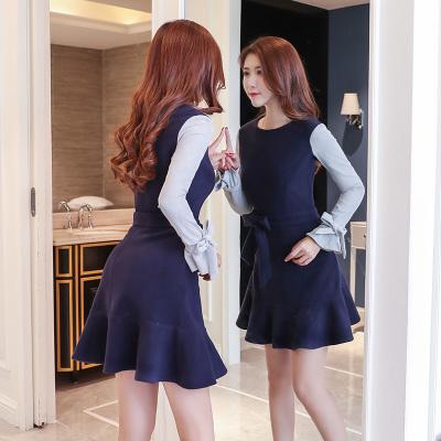秋冬 ワンピース 厚い 袖口リボン付き スレンダーライン スウィート 切り替え シンプル レディーズ女性 カジュアル ファッション 合わせやすい