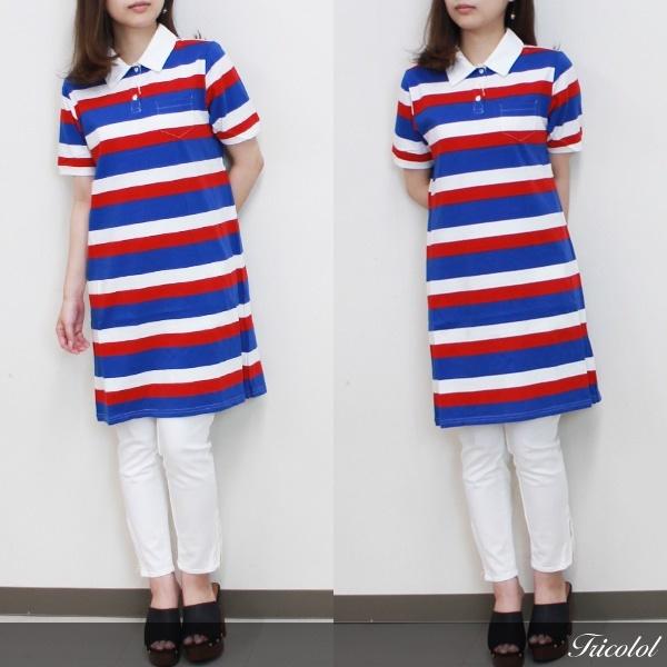 ボーダー 半袖 ポロ ワンピース [レディース] スポーティテイストのポロシャツも、ワンピース丈なら女子らしく可愛い♪ [メール便OK] 160804 アウトレット (C1-5)