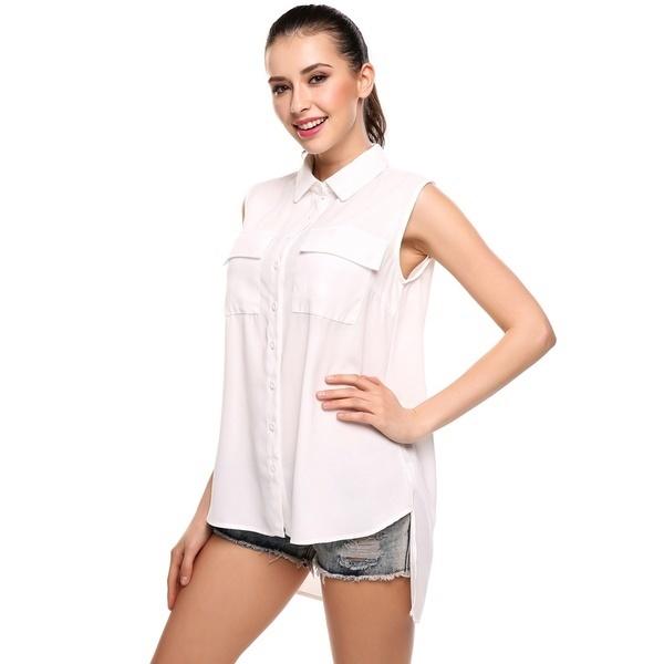 新しい女性のノースリーブボタンダウンシフォンブラウスタンクシャツ