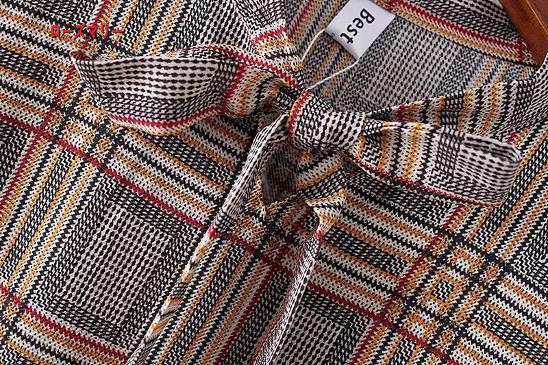 【ローズマリー】韓版女装で2018春の長いセクションを小さい格子プリントスカート清新総柄のワンピース チェック柄 スイート ヴィンテージ調  ベーシック -R1267