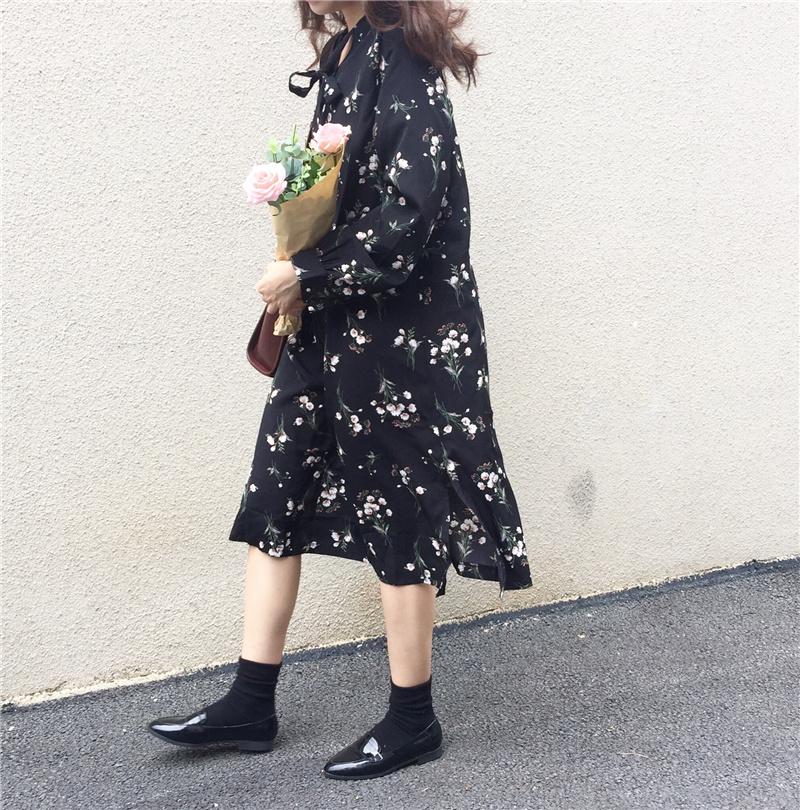 花柄 シャツワンピース ミモレ丈 スカート 秋 カジュアル ロング(81-26) ※納期に10日から14日ほどかかります。