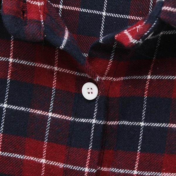 レディースレディースボタンラペルシャツレッドチェックコットンカジュアルティーシャツブラウストップスロングスリーブ
