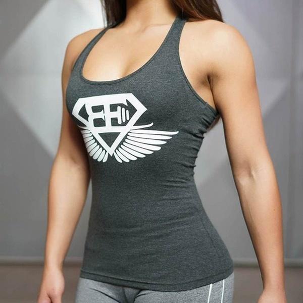 女性セクシーなコットンジムタンクトップボクシングフィットネスセクシーなタンクシャツ服レディースストリンガージム