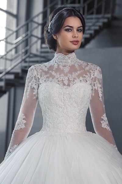 2018豪華な大聖堂の列車のボールのドレスのレースのウェディングドレス2017リアル写真長袖ブライダルドレス